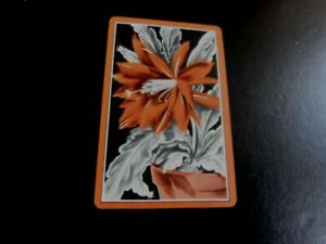 VINTAGE PLAYING  CARD flower in pot plant / brownish