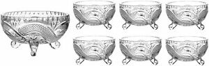 7 Piece Footed Glass Bowls Set Glass Fruit  Salad Bowls Trifle Dessert Ice Cream