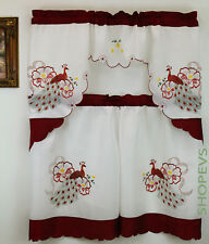 Peacock Kitchen Curtain with Swag and Tier Set 36 in