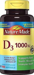 Nature Made Vitamin D3 1000 IU Softgels 100 Ct Supports Bone & Immune Health