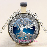 Living Tree of Life Cabochon Silver//Bronze//Black//Gold Glass Chain Necklace #1253