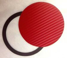 TAX DISC & PARKING PERMIT HOLDER MAGNETIC - Carbon Fiber Effect RED