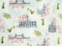 FAT QUARTER  DISNEY MARY POPPINS FABRIC  TOILE w/ METALLIC  CAMELOT COTTONS  FQ
