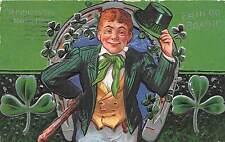 C53/ St Patrick's Day Holiday Postcard c1910 Erin Go Bragh Man Top Hat 3