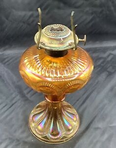 "CARNIVAL MAGNIFICENT OLD IMPERIAL ZIPPER LOOP 8"" OIL LAMP IN MARIGOLD"