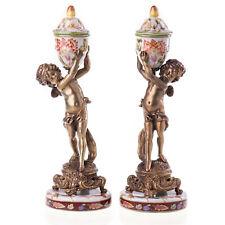Chandelier Ange Chérubin 2 / Set Porcelaine Bronze Baroque Antique 20249
