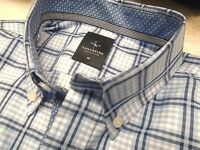 Tailorbyrd Collection Cotton Blue Windowpane Check Sport Shirt NWT Medium   99.50 30a2c2278