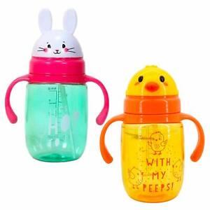 Easter Sippy Cups - Chick and Bunny (Set of 2, 12.5 oz ea) Kids Tumbler with