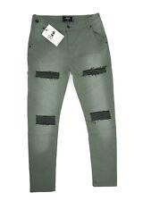 "SikSilk Men's Extreme Biker Skinny Denims Jeans Khaki Large 34"" Waist"