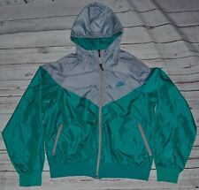 Nike Vintage 80s Nylon Hooded Windcheater Windebreaker Windrunner Green Grey M