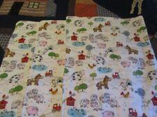 Set of Three White Farm Animal Theme Double-sided Flannel Burp Cloths