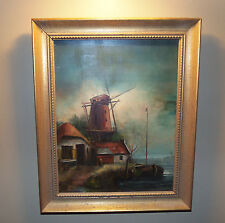 Oil on Board. Netherlands Scene with windmill, boat and traditional home.