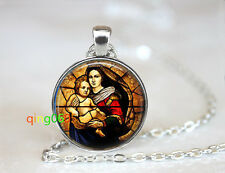 Mother Mary and Baby Jesus Keepsak Tibet silver Chain Pendant Necklace wholesale