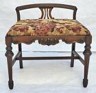Antique Walnut Wood Vanity Bench / Ottoman Mediterranean Style Los Angeles Area
