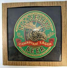 "Vintage Moosehead Canadian Lager Beer 12 x 12"" Glass Advertising Sign Display"