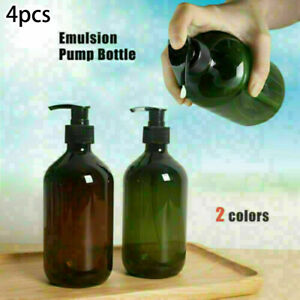 4pcs Empty Amber Plastic 300ml Lotion Pump Bottles Comestic Soap Gel Containers