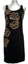 GALLIANO BLACK COTTON PRINTED DRESS, 42, $695