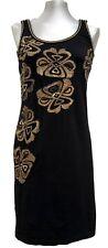 GALLIANO BLACK COTTON PRINTED DRESS, 42, $695