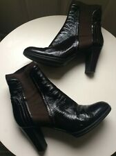 Luxury Quality Sergio Rossi Brown Patent Leather Ankle Sock Boots UK 5 38 VGC