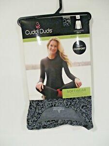 Cuddl Duds Womens Softwear stretch long sleeve crew top size XL Grey/Black Print