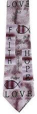 Faith Hope & Love Men Necktie Religious Corinthians 13:13 Christian Neck Tie