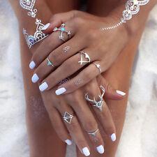 7Pcs Boho Ladies Designer Finger Ring Set Party Wedding Prom Trendy Jewelry