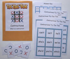 Teacher Made Literacy Center Learning Resource Game Contractions Tic-Tac-Toe