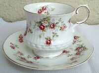 """Queen's Cup & Saucer Rosina China """"Rosamund"""" Roses EUC Pink Roses"""