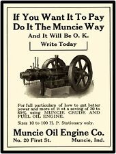 Muncie Oil Engine Co New Metal Sign: Crude & Fuel Oil Engine, Muncie Indiana