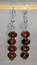 Natural Gold Stone Dangle sterling silver earring.