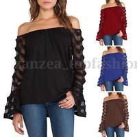 ZANZEA Women Off Shoulder Boat Neck Tops Mesh Flared Long Sleeve Shirt Blouse