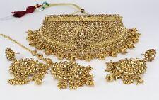 New LCT Golden Indian Fashion jewellery women necklace earring tikka set wedding