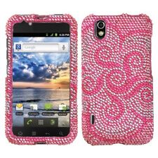 For LG Marquee Crystal Diamond BLING Hard Case Phone Cover Whirl Flower