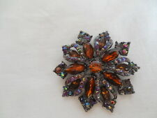 Lovely amber & AB rhinestone flower brooch
