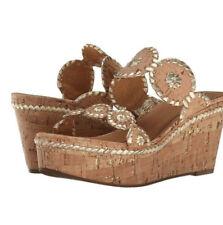 NWT +Box $178 Jack Rogers Leigh Wedge Slide Platform Sandals Gold Fleck & Cork