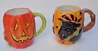 Susan Winget Halloween Oversize Mugs Jack-O-Lantern & Witch Pre-Owned
