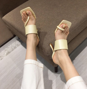 Ladies Stiletto Mules High Heels Summer Square Toe Sandals Slippers Fashion Shoe