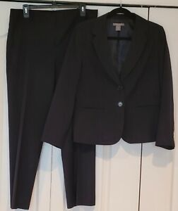 WOMAN'S ANN TAYLOR 2 PC PANTS SUIT - NAVY BLUE- FULLY LINED WOOL BLEND- 12P NWOT