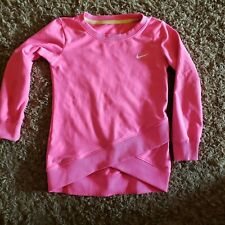 Nike DRI FIT Long Sleeve Shirt Crossover Racer Youth Girl Size 4/4T pink