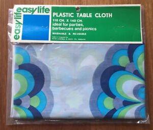 Retro Vintage 80's Blue Floral Plastic Table Cloth NEW IN PACKET