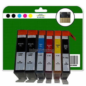 1 Set + 1 Black Chipped non-OEM Printer Ink Cartridges for HP PS 7520 364x5