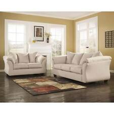 SIGNATURE DESIGN BY ASHLEY DARCY LIVING ROOM SET IN STONE FABRIC