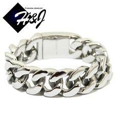 """8.5""""MEN's Stainless Steel HEAVY WIDE 20x7mm Silver Cuban Curb Chain Bracelet*B54"""