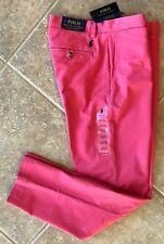 Polo Ralph Lauren Flat Front Chino Pants 36 32 Nantuckt Red Stretch Straight NWT