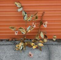 Vintage MidCentury Brutalist Flower Copper drift wood Sculpture C Jere AS IS