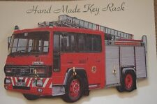 Red Fire Engine Handmade Wooden Novelty Key Rack Made in the UK