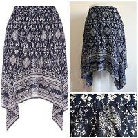 Ex Store Ladies NAVY paisley print cotton skirt Hanky Hem Summer  Size 6 - 20