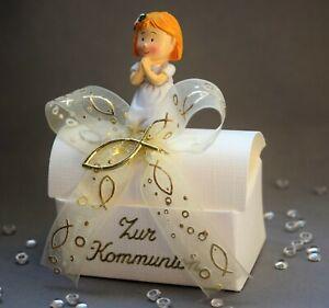 Geschenkbox für Geld oder Schmuck zur KOMMUNION / Fisch gold Mädchen Geschenk