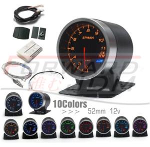 12V 52mm 10 Colour EGT Exhaust Gas Temperature Gauge