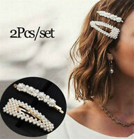 2PCS Fashion Girl Pearl Hair Clip Hairband Comb Bobby Hair Pin Barrette Hairpin